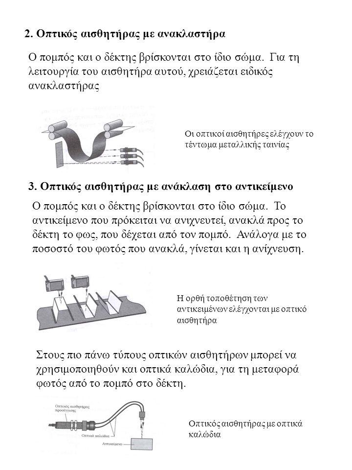 2. Οπτικός αισθητήρας με ανακλαστήρα Ο πομπός και ο δέκτης βρίσκονται στο ίδιο σώμα. Για τη λειτουργία του αισθητήρα αυτού, χρειάζεται ειδικός ανακλασ