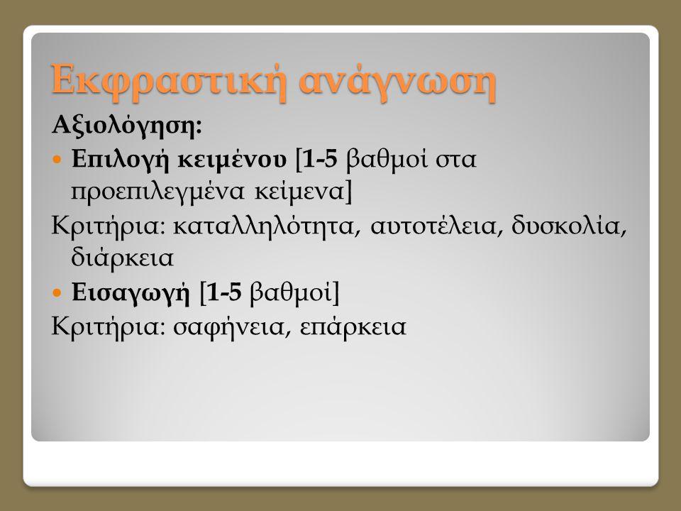Εκφραστική ανάγνωση Αξιολόγηση:  Επιλογή κειμένου [ 1-5 βαθμοί στα προεπιλεγμένα κείμενα] Κριτήρια: καταλληλότητα, αυτοτέλεια, δυσκολία, διάρκεια  Ε