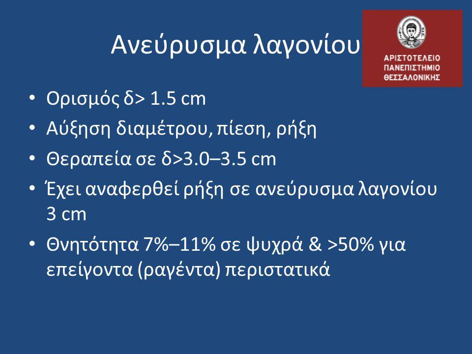 Ανεύρυσμα λαγονίου • Ορισμός δ> 1.5 cm • Αύξηση διαμέτρου, πίεση, ρήξη • Θεραπεία σε δ>3.0–3.5 cm • Έχει αναφερθεί ρήξη σε ανεύρυσμα λαγονίου 3 cm • Θ