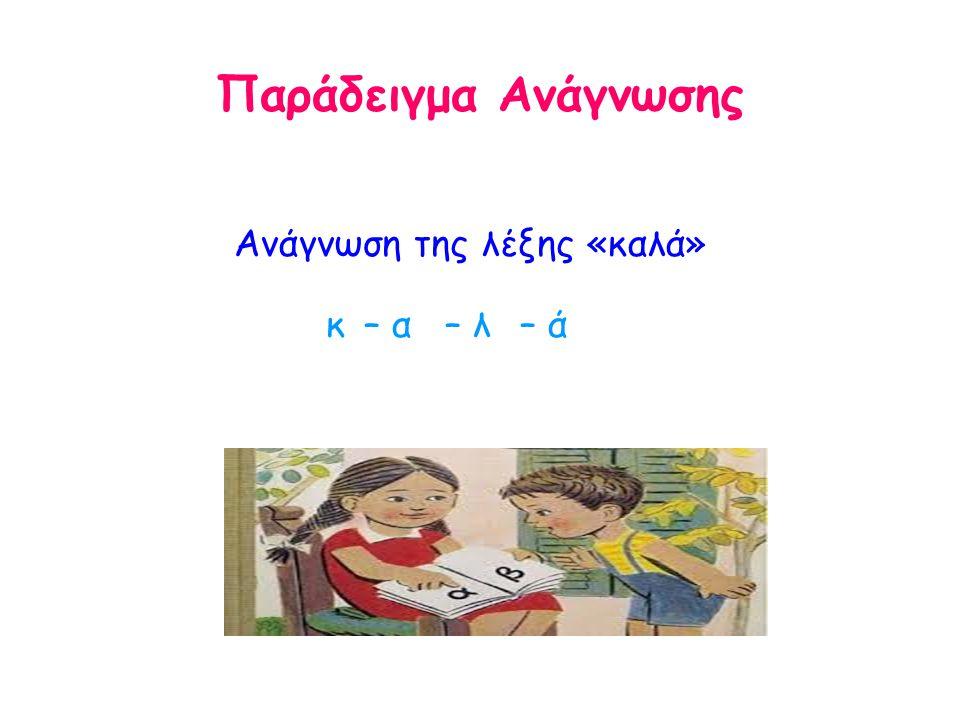 Παράδειγμα Ανάγνωσης Ανάγνωση της λέξης «καλά» κ– α– λ– ά
