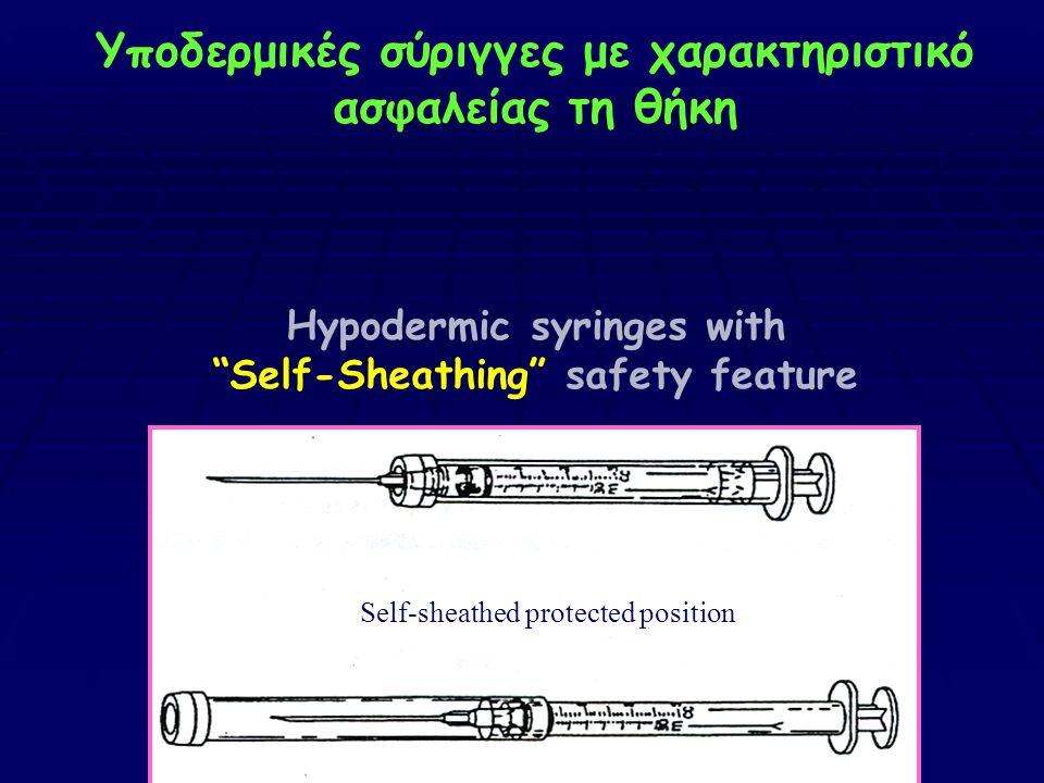 """Υποδερμικές σύριγγες με χαρακτηριστικό ασφαλείας τη θήκη Hypodermic syringes with """"Self-Sheathing"""" safety feature Self-sheathed protected position"""