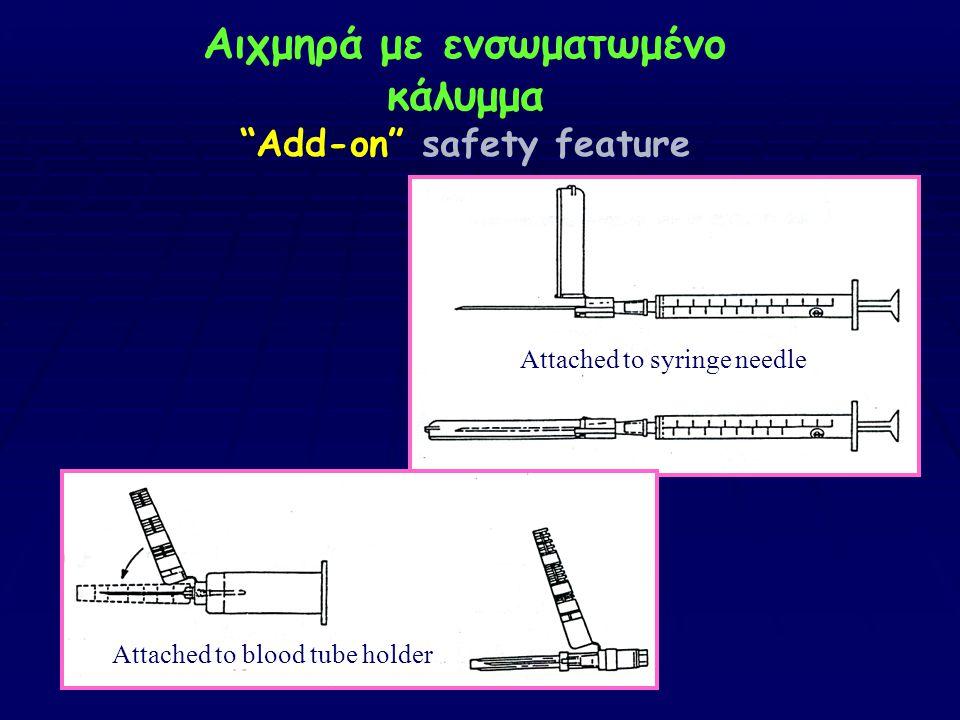 """Αιχμηρά με ενσωματωμένο κάλυμμα """"Add-on"""" safety feature Attached to syringe needle Attached to blood tube holder"""