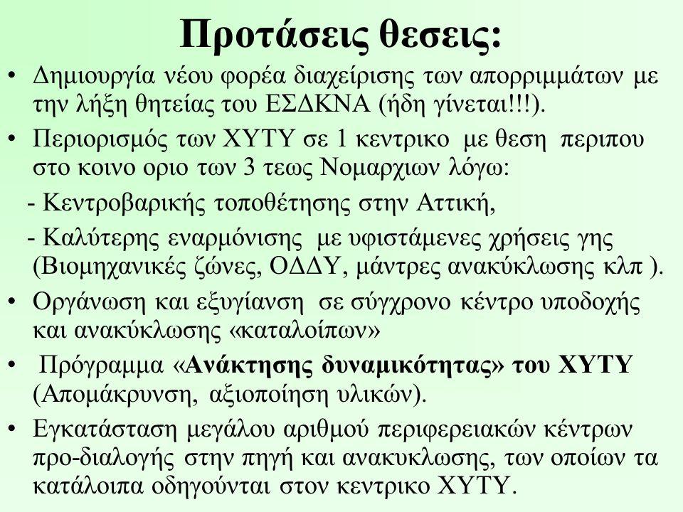 Προτάσεις θεσεις: •Δημιουργία νέου φορέα διαχείρισης των απορριμμάτων με την λήξη θητείας του ΕΣΔΚΝΑ (ήδη γίνεται!!!). •Περιορισμός των ΧΥΤΥ σε 1 κεντ