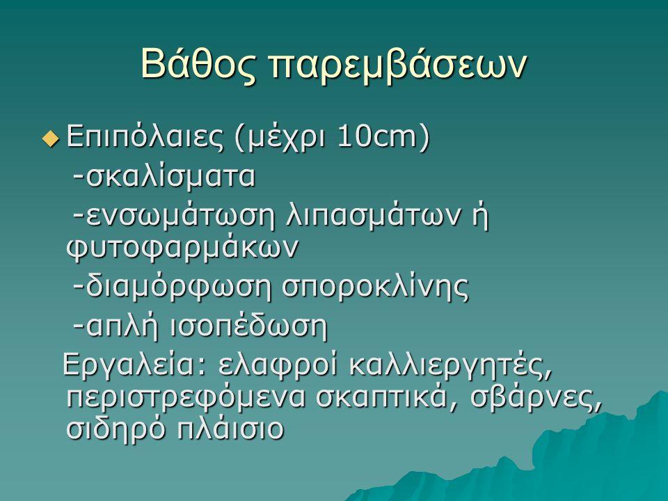 Βάθος παρεμβάσεων  Επιπόλαιες (μέχρι 10cm) -σκαλίσματα -σκαλίσματα -ενσωμάτωση λιπασμάτων ή φυτοφαρμάκων -ενσωμάτωση λιπασμάτων ή φυτοφαρμάκων -διαμό