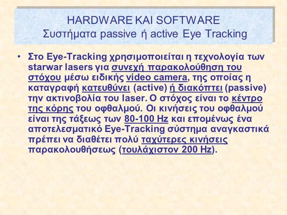 HARDWARE ΚΑΙ SOFTWARE Συστήματα passive ή active Εye Tracking •Στο Εye-Tracking χρησιμοποιείται η τεχνολογία των starwar lasers για συνεχή παρακολούθηση του στόχου μέσω ειδικής video camera, της οποίας η καταγραφή κατευθύνει (active) ή διακόπτει (passive) την ακτινοβολία του laser.