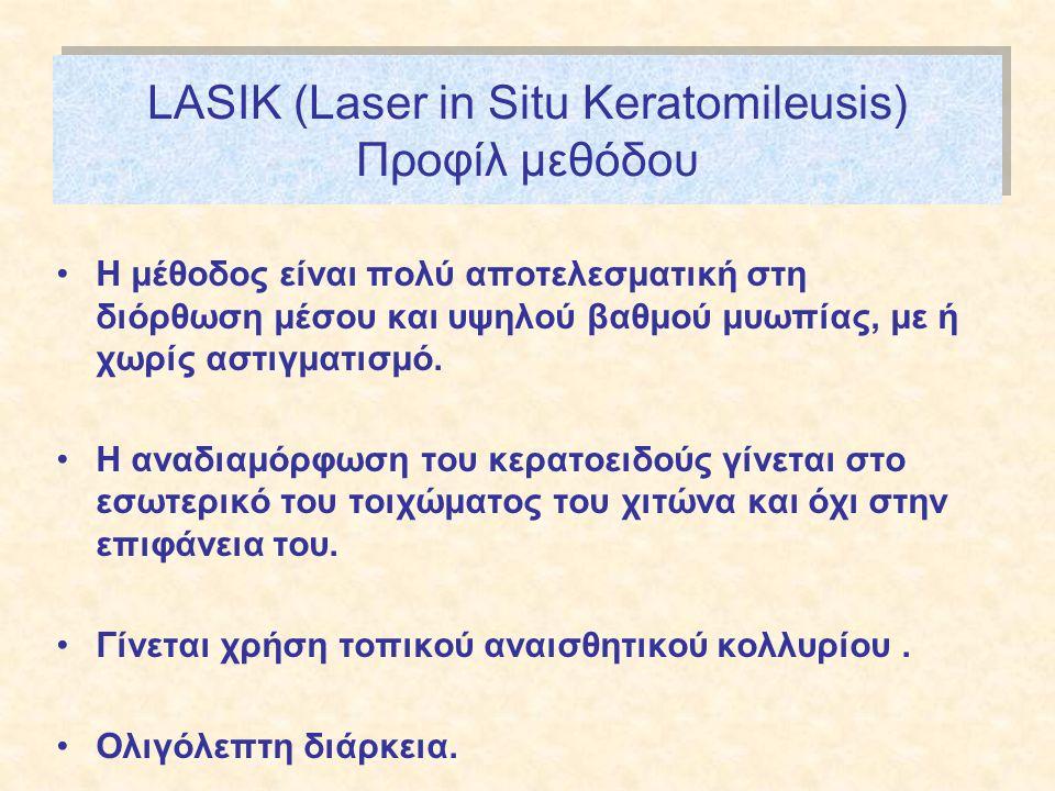 LASIK (Laser in Situ Keratomileusis) Προφίλ μεθόδου •Η μέθοδος είναι πολύ αποτελεσματική στη διόρθωση μέσου και υψηλού βαθμού μυωπίας, με ή χωρίς αστιγματισμό.
