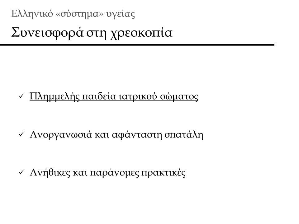 Ελληνικό «σύστημα» υγείας Συνεισφορά στη χρεοκοπία  Πλημμελής παιδεία ιατρικού σώματος  Ανοργανωσιά και αφάνταστη σπατάλη  Ανήθικες και παράνομες πρακτικές