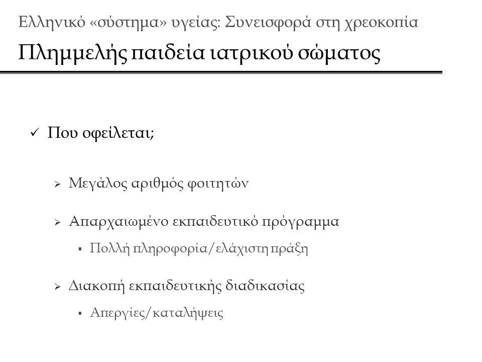 Ελληνικό «σύστημα» υγείας: Συνεισφορά στη χρεοκοπία Πλημμελής παιδεία ιατρικού σώματος  Που οφείλεται;  Μεγάλος αριθμός φοιτητών  Απαρχαιωμένο εκπαιδευτικό πρόγραμμα  Πολλή πληροφορία/ελάχιστη πράξη  Διακοπή εκπαιδευτικής διαδικασίας  Απεργίες/καταλήψεις