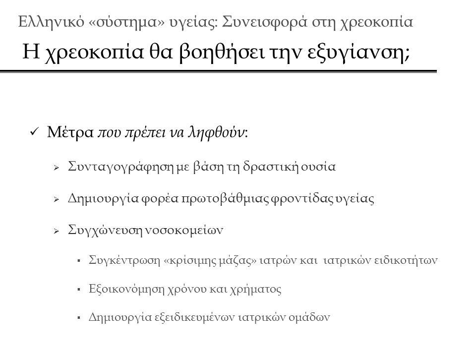 Ελληνικό «σύστημα» υγείας: Συνεισφορά στη χρεoκοπία Η χρεοκοπία θα βοηθήσει την εξυγίανση;  Μέτρα που πρέπει να ληφθούν :  Συνταγογράφηση με βάση τη δραστική ουσία  Δημιουργία φορέα πρωτοβάθμιας φροντίδας υγείας  Συγχώνευση νοσοκομείων  Συγκέντρωση «κρίσιμης μάζας» ιατρών και ιατρικών ειδικοτήτων  Εξοικονόμηση χρόνου και χρήματος  Δημιουργία εξειδικευμένων ιατρικών ομάδων