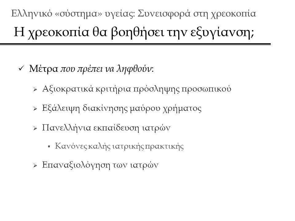 Ελληνικό «σύστημα» υγείας: Συνεισφορά στη χρεoκοπία Η χρεοκοπία θα βοηθήσει την εξυγίανση;  Μέτρα που πρέπει να ληφθούν :  Αξιοκρατικά κριτήρια πρόσληψης προσωπικού  Εξάλειψη διακίνησης μαύρου χρήματος  Πανελλήνια εκπαίδευση ιατρών  Κανόνες καλής ιατρικής πρακτικής  Επαναξιολόγηση των ιατρών
