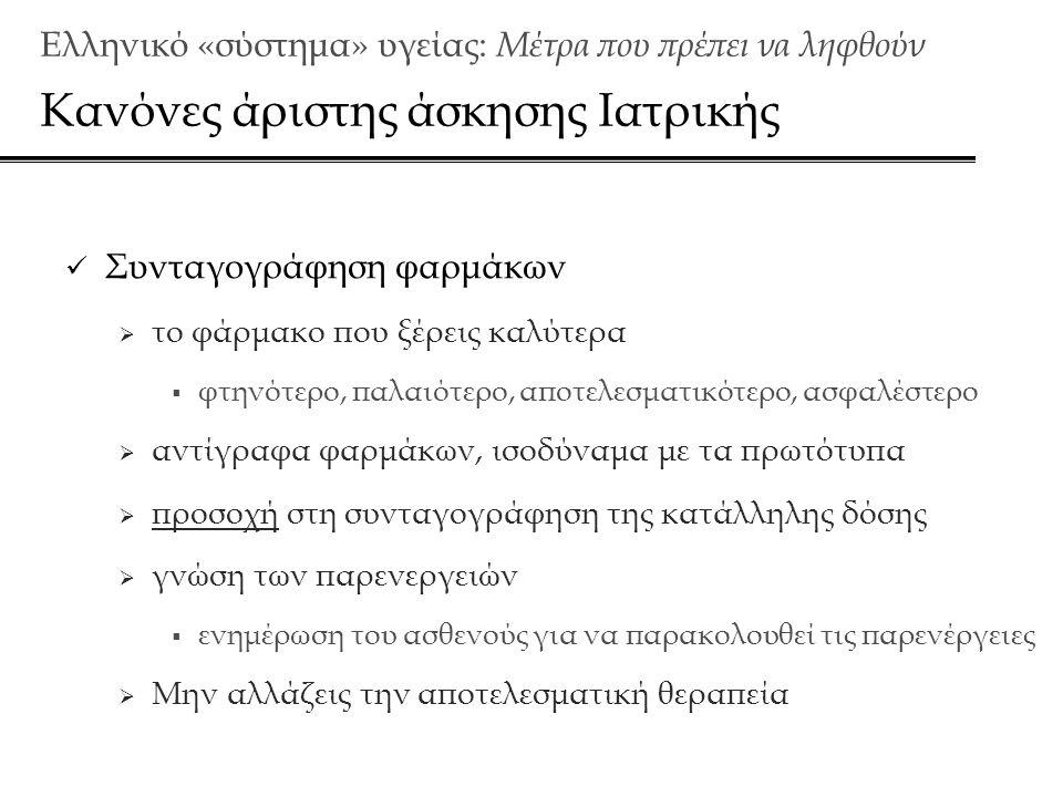 Ελληνικό «σύστημα» υγείας: Μέτρα που πρέπει να ληφθούν Κανόνες άριστης άσκησης Ιατρικής  Συνταγογράφηση φαρμάκων  το φάρμακο που ξέρεις καλύτερα  φτηνότερο, παλαιότερο, αποτελεσματικότερο, ασφαλέστερο  αντίγραφα φαρμάκων, ισοδύναμα με τα πρωτότυπα  προσοχή στη συνταγογράφηση της κατάλληλης δόσης  γνώση των παρενεργειών  ενημέρωση του ασθενούς για να παρακολουθεί τις παρενέργειες  Μην αλλάζεις την αποτελεσματική θεραπεία