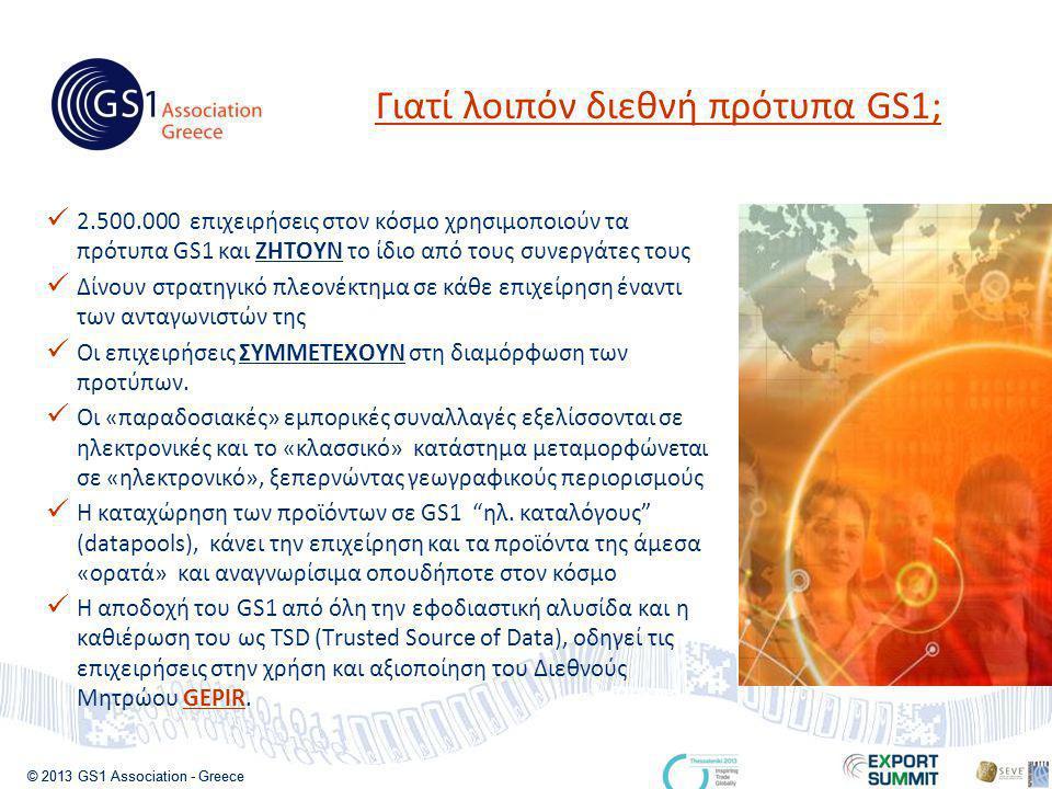 © 2013 GS1 Association - Greece  2.500.000 επιχειρήσεις στον κόσμο χρησιμοποιούν τα πρότυπα GS1 και ΖΗΤΟΥΝ το ίδιο από τους συνεργάτες τους  Δίνουν στρατηγικό πλεονέκτημα σε κάθε επιχείρηση έναντι των ανταγωνιστών της  Οι επιχειρήσεις ΣΥΜΜΕΤΕΧΟΥΝ στη διαμόρφωση των προτύπων.