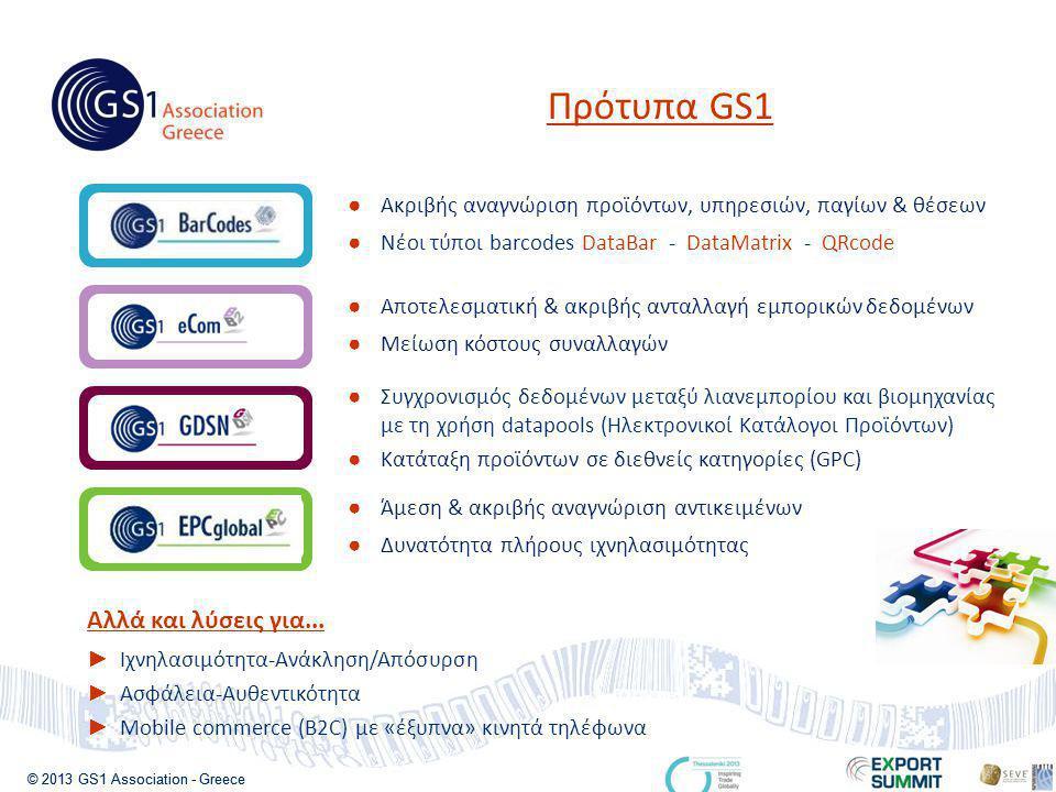 © 2013 GS1 Association - Greece Πρότυπα GS1 ● Ακριβής αναγνώριση προϊόντων, υπηρεσιών, παγίων & θέσεων ● Νέοι τύποι barcodes DataBar - DataMatrix - QRcode ● Αποτελεσματική & ακριβής ανταλλαγή εμπορικών δεδομένων ● Μείωση κόστους συναλλαγών ● Συγχρονισμός δεδομένων μεταξύ λιανεμπορίου και βιομηχανίας με τη χρήση datapools (Ηλεκτρονικοί Κατάλογοι Προϊόντων) ● Κατάταξη προϊόντων σε διεθνείς κατηγορίες (GPC) ● Άμεση & ακριβής αναγνώριση αντικειμένων ● Δυνατότητα πλήρους ιχνηλασιμότητας Αλλά και λύσεις για...