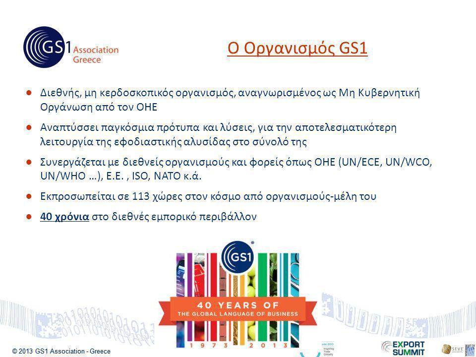 © 2013 GS1 Association - Greece ●Διεθνής, μη κερδοσκοπικός οργανισμός, αναγνωρισμένος ως Μη Κυβερνητική Οργάνωση από τον ΟΗΕ ●Αναπτύσσει παγκόσμια πρότυπα και λύσεις, για την αποτελεσματικότερη λειτουργία της εφοδιαστικής αλυσίδας στο σύνολό της ●Συνεργάζεται με διεθνείς οργανισμούς και φορείς όπως ΟΗΕ (UN/ECE, UN/WCO, UN/WHO …), Ε.Ε., ISO, NATO κ.ά.