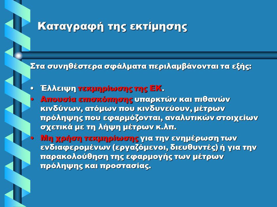 Καταγραφή της εκτίμησης Στα συνηθέστερα σφάλματα περιλαμβάνονται τα εξής: •Έλλειψη τεκμηρίωσης της ΕΚ. •Απουσία επισκόπησης υπαρκτών και πιθανών κινδύ