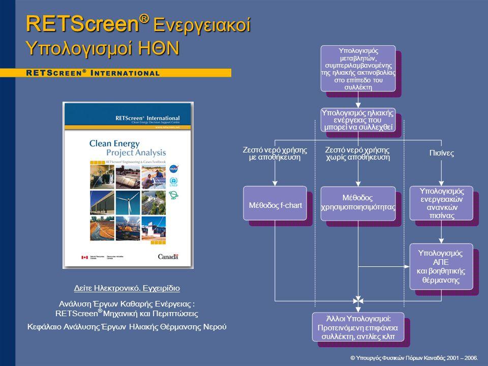 © Υπουργός Φυσικών Πόρων Καναδάς 2001 – 2006. Δείτε Ηλεκτρονικό. Εγχειρίδιο Ανάλυση Έργων Καθαρής Ενέργειας : RETScreen ® Μηχανική και Περιπτώσεις Κεφ
