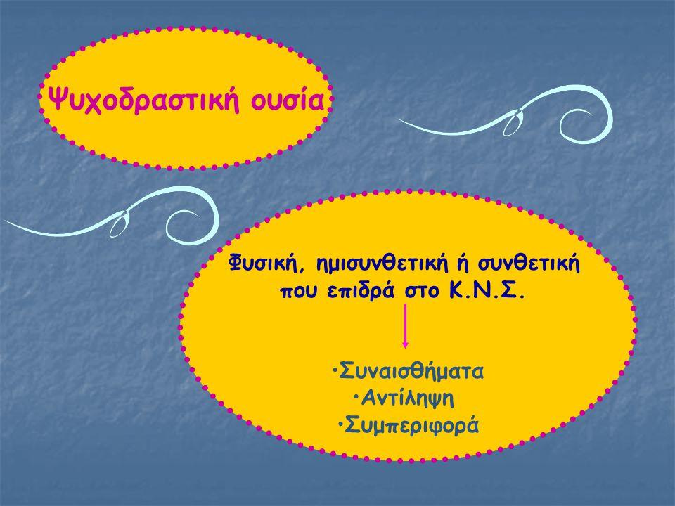 Ψυχοδραστική ουσία Φυσική, ημισυνθετική ή συνθετική που επιδρά στο Κ.Ν.Σ.