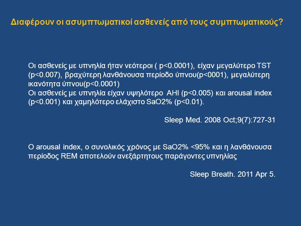 Οι ασθενείς με υπνηλία ήταν νεότεροι ( p<0.0001), είχαν μεγαλύτερο TST (p<0.007), βραχύτερη λανθάνουσα περίοδο ύπνου(p<0001), μεγαλύτερη ικανότητα ύπν