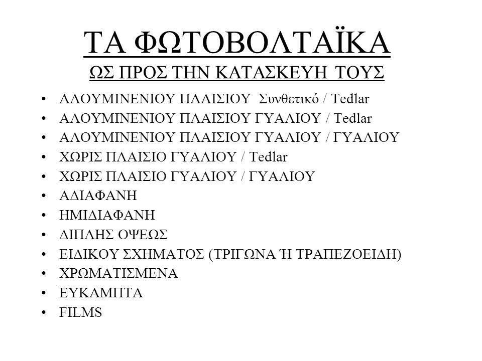 •ΑΛΟΥΜΙΝΕΝΙΟΥ ΠΛΑΙΣΙΟΥ Συνθετικό / Tedlar •ΑΛΟΥΜΙΝΕΝΙΟΥ ΠΛΑΙΣΙΟΥ ΓΥΑΛΙΟΥ / Tedlar •ΑΛΟΥΜΙΝΕΝΙΟΥ ΠΛΑΙΣΙΟΥ ΓΥΑΛΙΟΥ / ΓΥΑΛΙΟΥ •ΧΩΡΙΣ ΠΛΑΙΣΙΟ ΓΥΑΛΙΟΥ / Τedlar •ΧΩΡΙΣ ΠΛΑΙΣΙΟ ΓΥΑΛΙΟΥ / ΓΥΑΛΙΟΥ •ΑΔΙΑΦΑΝΗ •ΗΜΙΔΙΑΦΑΝΗ •ΔΙΠΛΗΣ ΟΨΕΩΣ •ΕΙΔΙΚΟΥ ΣΧΗΜΑΤΟΣ (ΤΡΙΓΩΝΑ Ή ΤΡΑΠΕΖΟΕΙΔΗ) •ΧΡΩΜΑΤΙΣΜΕΝΑ •ΕΥΚΑΜΠΤΑ •FILMS ΤΑ ΦΩΤΟΒΟΛΤΑΪΚΑ ΩΣ ΠΡΟΣ ΤΗΝ ΚΑΤΑΣΚΕΥΗ ΤΟΥΣ