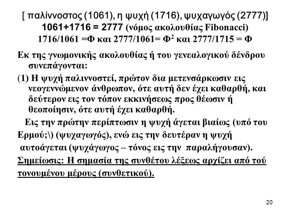 20 [ παλίννοστος (1061), η ψυχή (1716), ψυχαγωγός (2777)] 1061+1716 = 2777 (νόμος ακολουθίας Fibonacci) 1716/1061 =Φ και 2777/1061= Φ 2 και 2777/1715