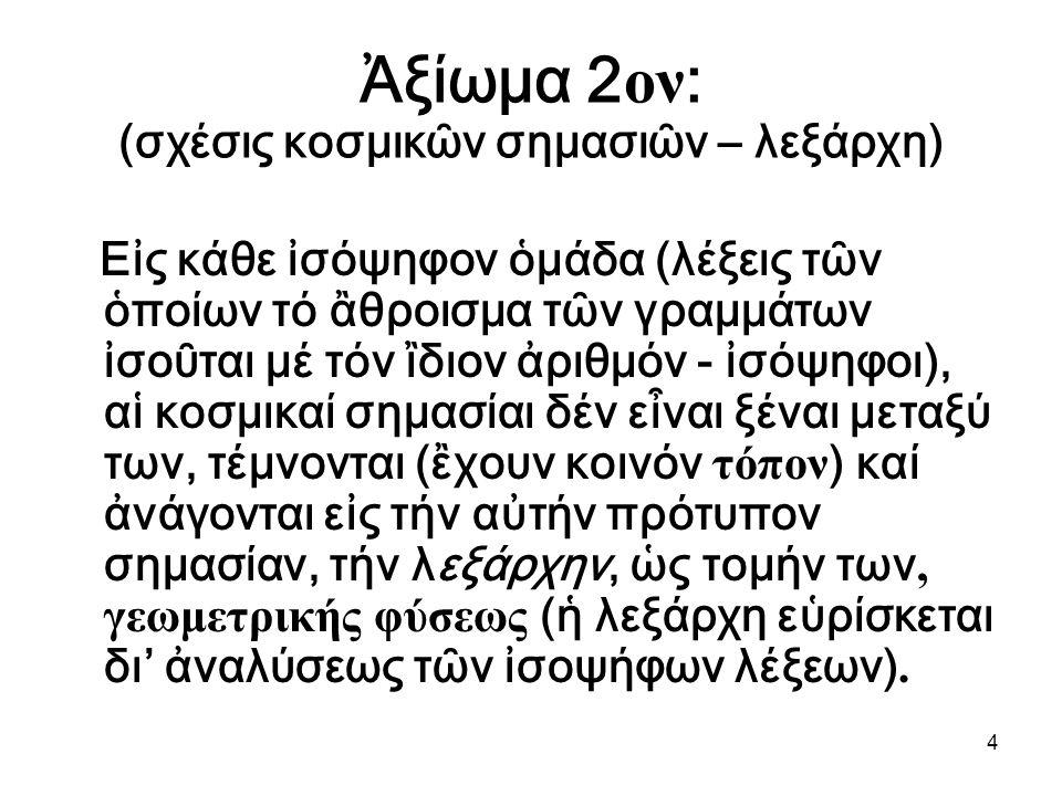 4 Ἀξίωμα 2 ον : (σχέσις κοσμικῶν σημασιῶν – λεξάρχη) Εἰς κάθε ἰσόψηφον ὁμάδα (λέξεις τῶν ὁποίων τό ἂθροισμα τῶν γραμμάτων ἰσοῦται μέ τόν ἲδιον ἀριθμόν