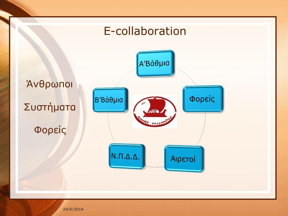 E-collaboration 24/6/2014 Άνθρωποι Συστήματα Φορείς