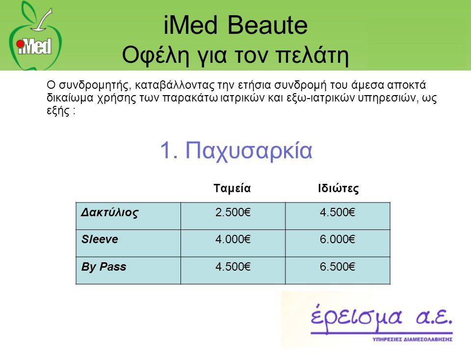 iMed Beaute Οφέλη για τον πελάτη Ο συνδρομητής, καταβάλλοντας την ετήσια συνδρομή του άμεσα αποκτά δικαίωμα χρήσης των παρακάτω ιατρικών και εξω-ιατρι