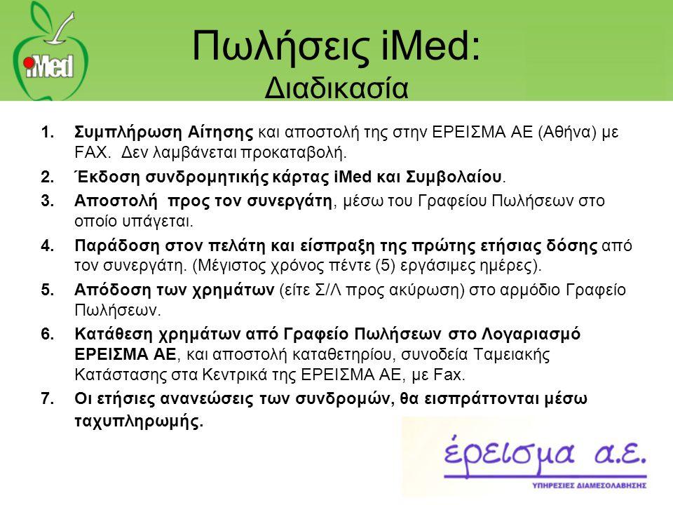 Πωλήσεις iMed: Διαδικασία 1.Συμπλήρωση Αίτησης και αποστολή της στην ΕΡΕΙΣΜΑ ΑΕ (Αθήνα) με FAX. Δεν λαμβάνεται προκαταβολή. 2.Έκδοση συνδρομητικής κάρ