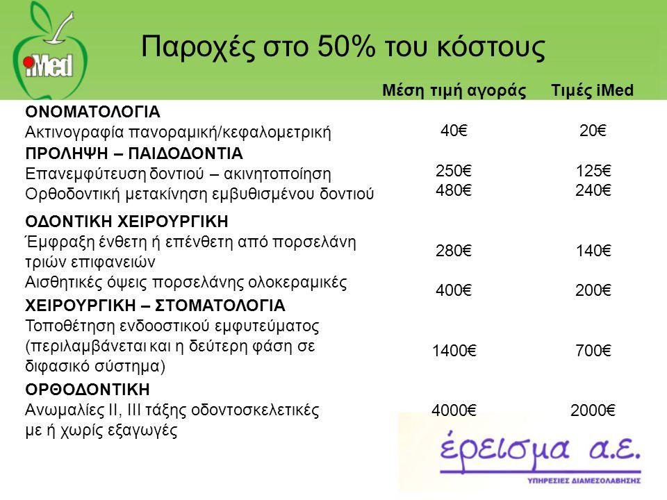 Μέση τιμή αγοράς 40€ 250€ 480€ 280€ 400€ 1400€ 4000€ Τιμές iMed 20€ 125€ 240€ 140€ 200€ 700€ 2000€ ΟΝΟΜΑΤΟΛΟΓΙΑ Ακτινογραφία πανοραμική/κεφαλομετρική