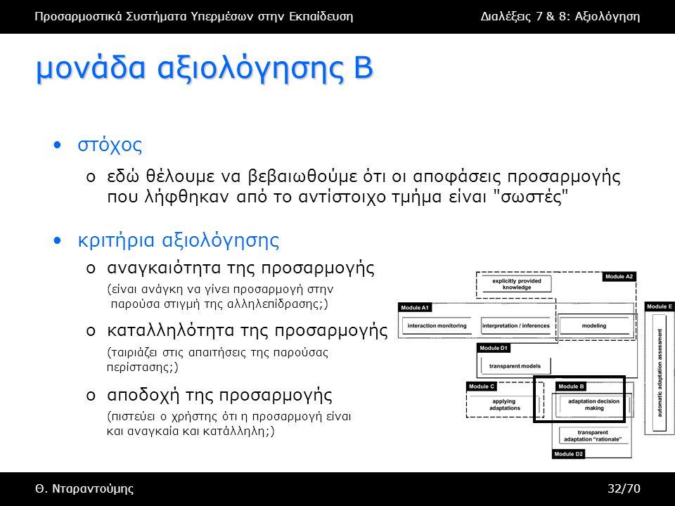 Προσαρμοστικά Συστήματα Υπερμέσων στην ΕκπαίδευσηΔιαλέξεις 7 & 8: Αξιολόγηση Θ.