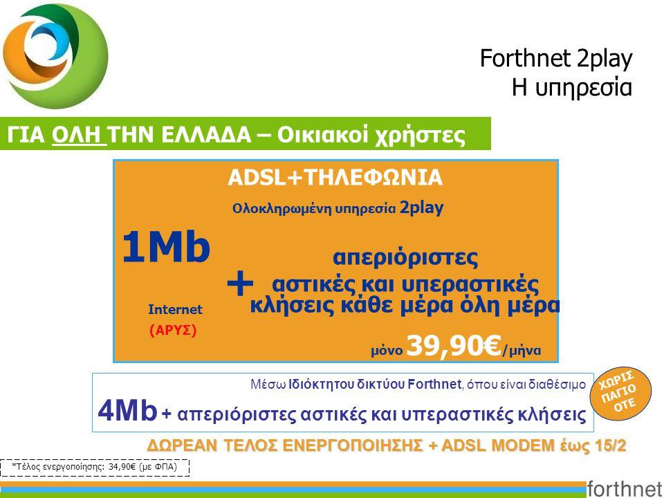 Forthnet 2play Η υπηρεσία ΓΙΑ ΟΛΗ ΤΗΝ ΕΛΛΑΔΑ – Οικιακοί χρήστες ADSL+ΤΗΛΕΦΩΝΙΑ 1Mb Ολοκληρωμένη υπηρεσία 2play μόνο 39,90€ /μήνα απεριόριστες αστικές