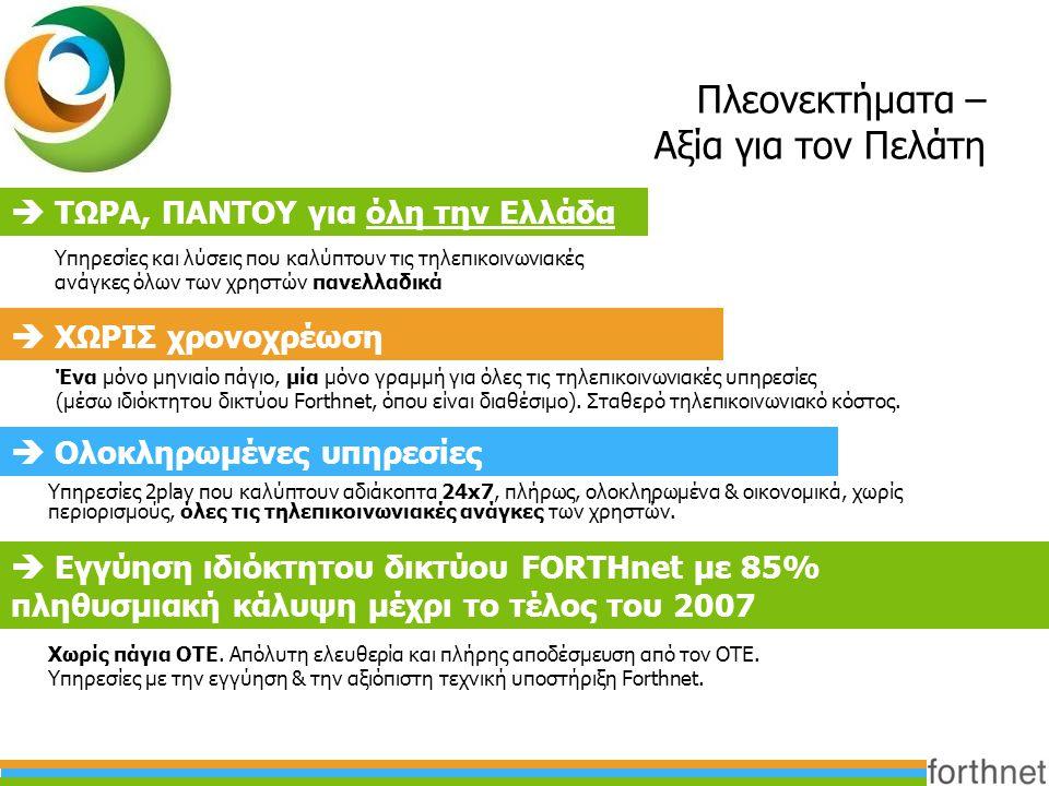 Πλεονεκτήματα – Αξία για τον Πελάτη  ΤΩΡΑ, ΠΑΝΤΟΥ για όλη την Ελλάδα  ΧΩΡΙΣ χρονοχρέωση Υπηρεσίες και λύσεις που καλύπτουν τις τηλεπικοινωνιακές ανά