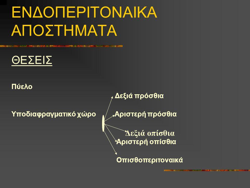 ΕΝΔΟΠΕΡΙΤΟΝΑΙΚΑ ΑΠΟΣΤΗΜΑΤΑ ΘΕΣΕΙΣ Πύελο Δεξιά πρόσθια Υποδιαφραγματικό χώρο Αριστερή πρόσθια Αριστερή οπίσθια Οπισθοπεριτοναικά Δεξιά οπίσθια
