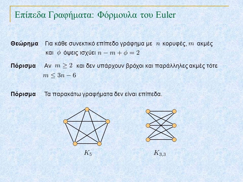 Επίπεδα Γραφήματα: Φόρμουλα του Euler TexPoint fonts used in EMF. Read the TexPoint manual before you delete this box.: AA A AA A A Πόρισμα Τα παρακάτ