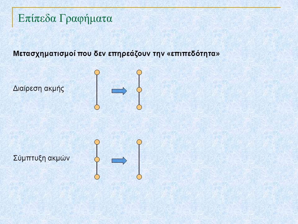 Επίπεδα Γραφήματα TexPoint fonts used in EMF. Read the TexPoint manual before you delete this box.: AA A AA A A Μετασχηματισμοί που δεν επηρεάζουν την