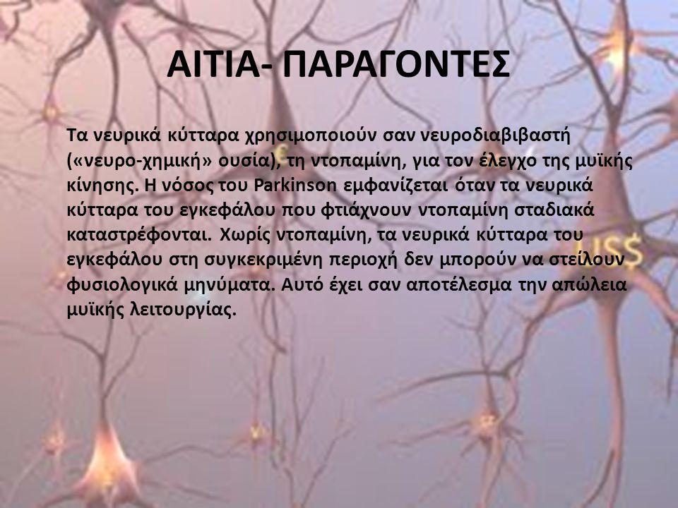 ΑΙΤΙΑ- ΠΑΡΑΓΟΝΤΕΣ Τα νευρικά κύτταρα χρησιμοποιούν σαν νευροδιαβιβαστή («νευρο-χημική» ουσία), τη ντοπαμίνη, για τον έλεγχο της μυϊκής κίνησης. Η νόσο