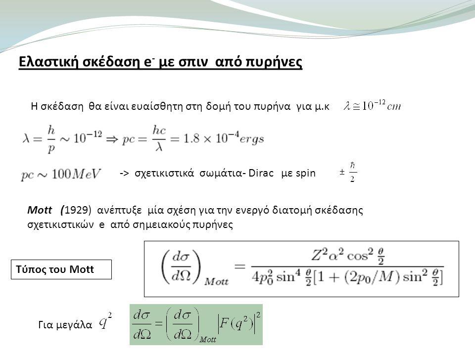 Ελαστική σκέδαση e - με σπιν από πυρήνες Η σκέδαση θα είναι ευαίσθητη στη δομή του πυρήνα για μ.κ -> σχετικιστικά σωμάτια- Dirac με spin Μott (1929) ανέπτυξε μία σχέση για την ενεργό διατομή σκέδασης σχετικιστικών e από σημειακούς πυρήνες Τύπος του Mott Για μεγάλα