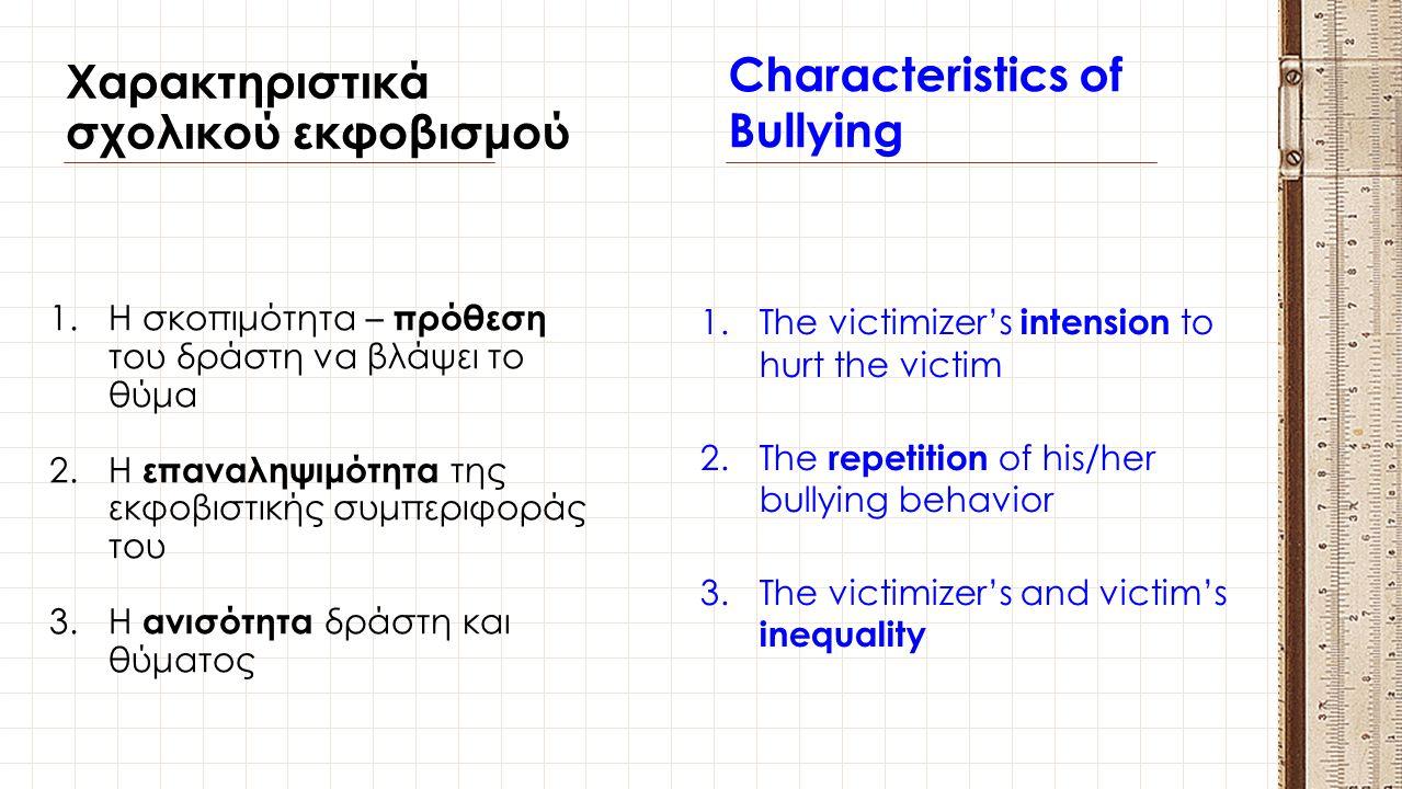Χαρακτηριστικά σχολικού εκφοβισμού Characteristics of Bullying 1.Η σκοπιμότητα – πρόθεση του δράστη να βλάψει το θύμα 2.Η επαναληψιμότητα της εκφοβιστ