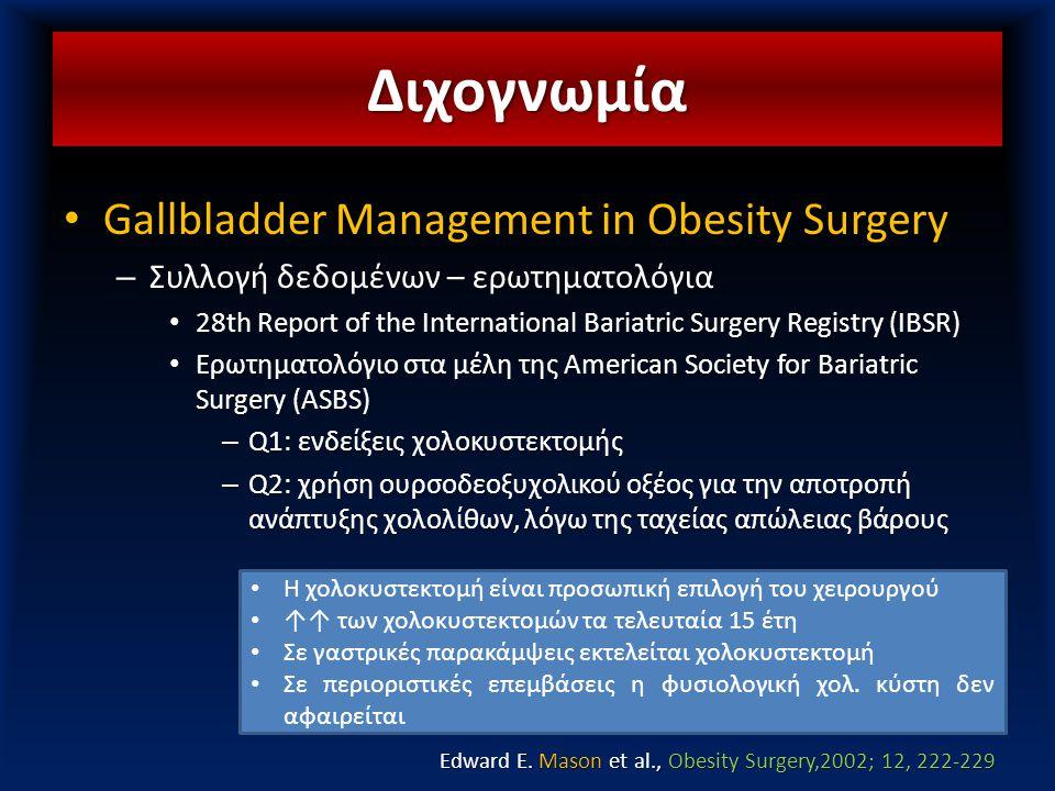 Στοιχεία μελέτης • Gallbladder Management in Obesity Surgery – Συλλογή δεδομένων – ερωτηματολόγια • 28th Report of the International Bariatric Surgery