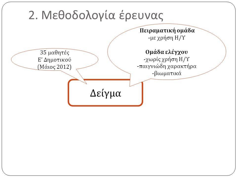 2. Μεθοδολογία έρευνας Δείγμα Πειραματική ομάδα - με χρήση Η / Υ Ομάδα ελέγχου - χωρίς χρήση Η / Υ -π αιγνιώδη χαρακτήρα - βιωματικά 35 μαθητές Ε ' Δη