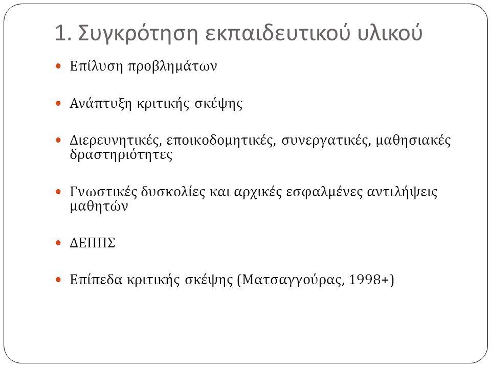 1. Συγκρότηση εκπαιδευτικού υλικού  Επίλυση προβλημάτων  Ανάπτυξη κριτικής σκέψης  Διερευνητικές, εποικοδομητικές, συνεργατικές, μαθησιακές δραστηρ