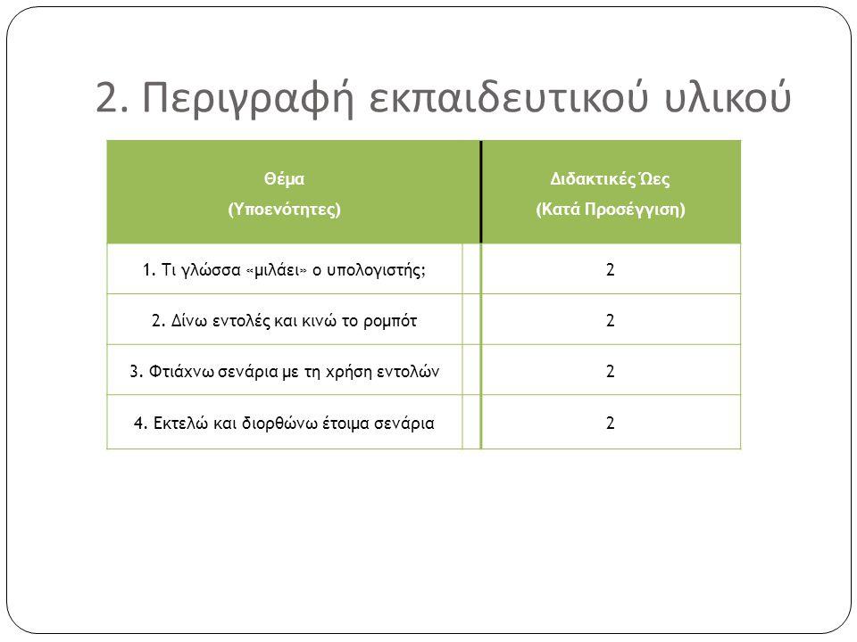 2. Περιγραφή εκπαιδευτικού υλικού Θέμα (Υποενότητες) Διδακτικές Ώες (Κατά Προσέγγιση) 1. Τι γλώσσα «μιλάει» ο υπολογιστής;2 2. Δίνω εντολές και κινώ τ