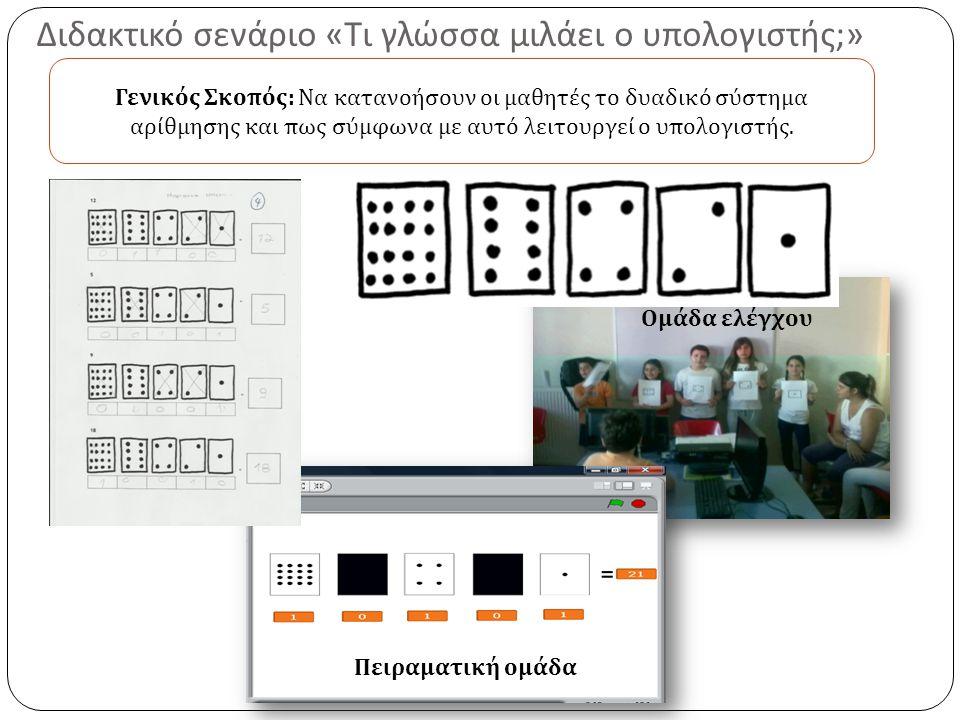 Διδακτικό σενάριο « Τι γλώσσα μιλάει ο υπολογιστής ;» Πειραματική ομάδα Ομάδα ελέγχου Γενικός Σκο π ός : Να κατανοήσουν οι μαθητές το δυαδικό σύστημα αρίθμησης και π ως σύμφωνα με αυτό λειτουργεί ο υ π ολογιστής.