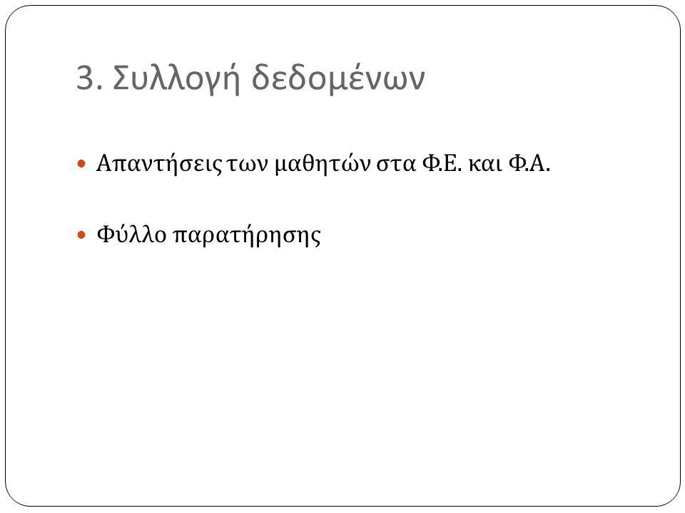 3. Συλλογή δεδομένων  Απαντήσεις των μαθητών στα Φ. Ε. και Φ. Α.  Φύλλο παρατήρησης