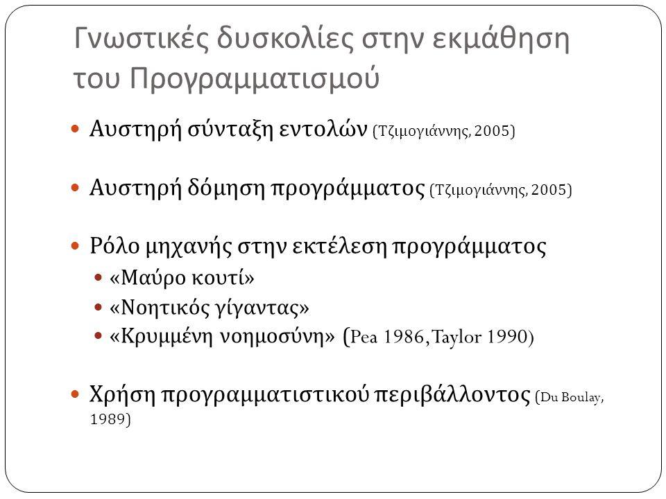Γνωστικές δυσκολίες στην εκμάθηση του Προγραμματισμού  Αυστηρή σύνταξη εντολών ( Τζιμογιάννης, 2005)  Αυστηρή δόμηση προγράμματος ( Τζιμογιάννης, 2005)  Ρόλο μηχανής στην εκτέλεση προγράμματος  « Μαύρο κουτί »  « Νοητικός γίγαντας »  « Κρυμμένη νοημοσύνη » (Pea 1986, Taylor 1990)  Χρήση προγραμματιστικού περιβάλλοντος (Du Boulay, 1989)