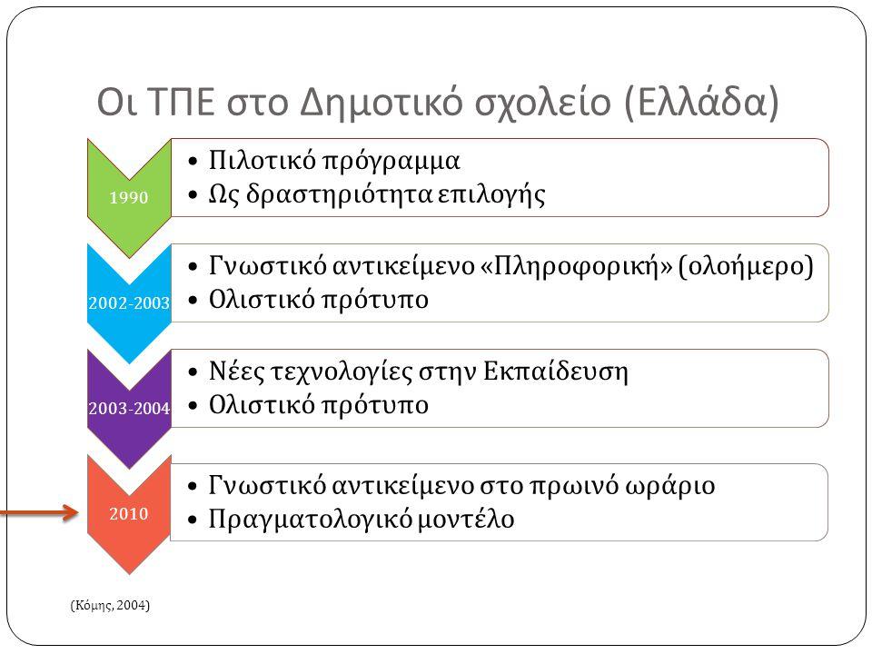 Οι ΤΠΕ στο Δημοτικό σχολείο ( Ελλάδα ) 1990 • Πιλοτικό π ρόγραμμα • Ως δραστηριότητα ε π ιλογής 2002-2003 • Γνωστικό αντικείμενο « Πληροφορική » ( ολοήμερο ) • Ολιστικό π ρότυ π ο 2003-2004 • Νέες τεχνολογίες στην Εκ π αίδευση • Ολιστικό π ρότυ π ο 2010 • Γνωστικό αντικείμενο στο π ρωινό ωράριο • Πραγματολογικό μοντέλο ( Κόμης, 2004)
