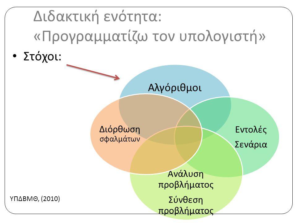 Διδακτική ενότητα: «Προγραμματίζω τον υπολογιστή» • Στόχοι: Αλγόριθμοι Εντολές Σενάρια Ανάλυση π ροβλήματος Σύνθεση π ροβλήματος Διόρθωση σφαλμάτων ΥΠΔΒΜΘ, (2010)