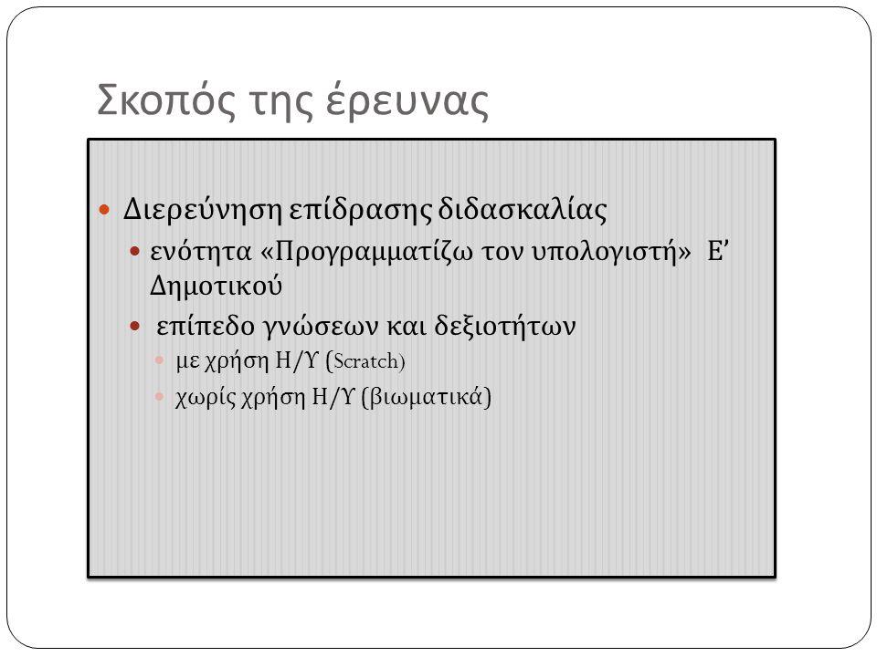 Σκοπός της έρευνας  Διερεύνηση ε π ίδρασης διδασκαλίας  ενότητα « Προγραμματίζω τον υ π ολογιστή » Ε ' Δημοτικού  ε π ί π εδο γνώσεων και δεξιοτήτων  με χρήση Η / Υ (Scratch)  χωρίς χρήση Η / Υ ( βιωματικά )  Διερεύνηση ε π ίδρασης διδασκαλίας  ενότητα « Προγραμματίζω τον υ π ολογιστή » Ε ' Δημοτικού  ε π ί π εδο γνώσεων και δεξιοτήτων  με χρήση Η / Υ (Scratch)  χωρίς χρήση Η / Υ ( βιωματικά )