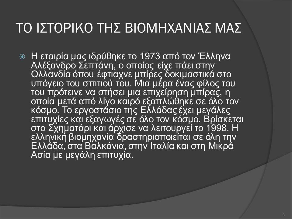 ΠΡΩΤΕΣ ΥΛΕΣ, ΠΡΟΜΗΘΕΙΕΣ, ΤΡΟΠΟΙ ΜΕΤΑΦΟΡΑΣ  Οι πρώτες ύλες που χρησιμοποιεί η βιομηχανία παράγονται και προμηθεύονται στην Ελλάδα.