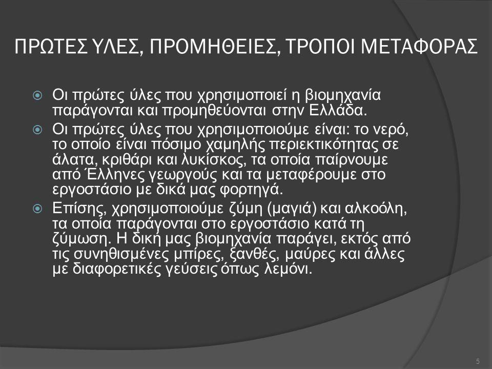 ΠΡΩΤΕΣ ΥΛΕΣ, ΠΡΟΜΗΘΕΙΕΣ, ΤΡΟΠΟΙ ΜΕΤΑΦΟΡΑΣ  Οι πρώτες ύλες που χρησιμοποιεί η βιομηχανία παράγονται και προμηθεύονται στην Ελλάδα.  Οι πρώτες ύλες πο